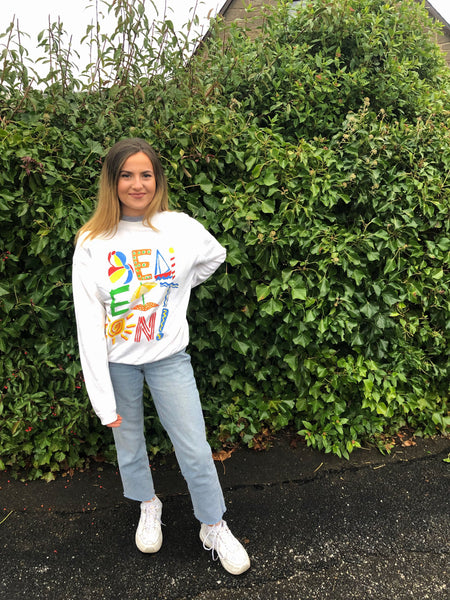 Vintage Graphic Print Unisex Sweatshirt / Jumper / Sweater White