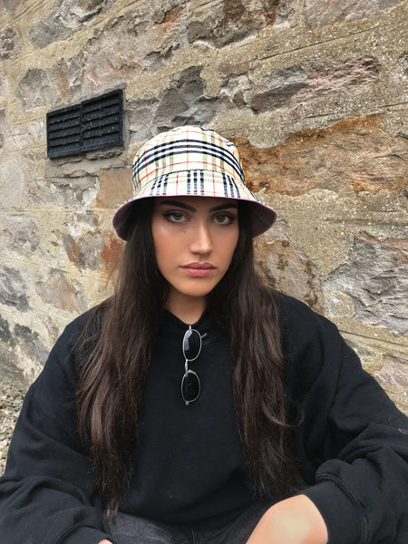 Love Route Unisex Bucket Hat Beige Check