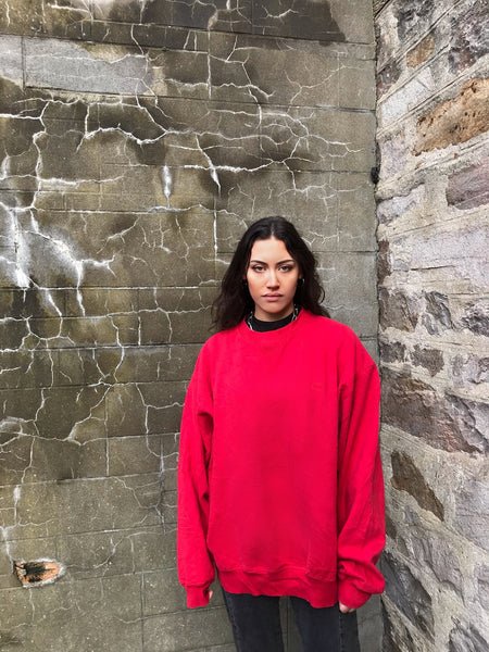 Vintage Champion Oversized Baggy Unisex Sweater / Sweatshirt / Jumper Red