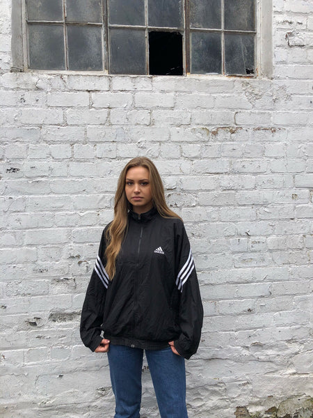 Adidas Originals 3-Stripes Vintage Unisex Bomber Track Jacket / Tracksuit Top Black