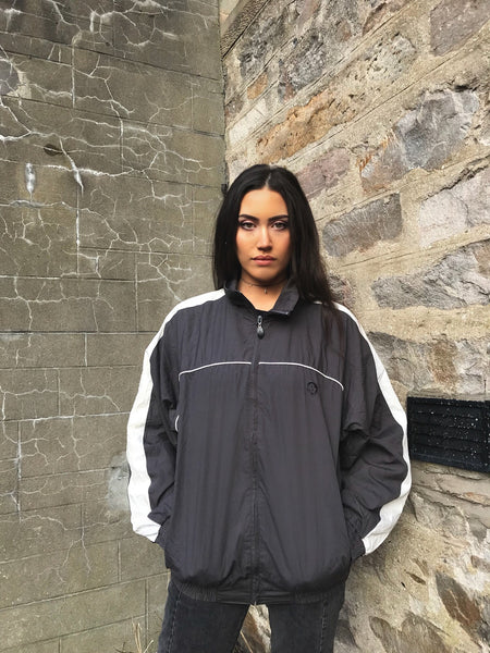 Vintage Unisex Windbreaker Oversized Shell Track Jacket Grey & White