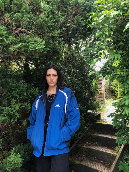 Adidas Vintage Unisex Oversized Shell Jacket / Windbreaker Blue
