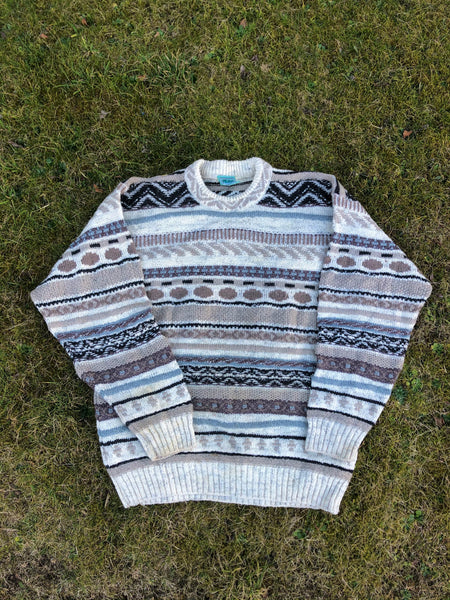 Vintage Coogi Style Crosby Patterned Knitted 90s Granny Jumper / Sweater Beige
