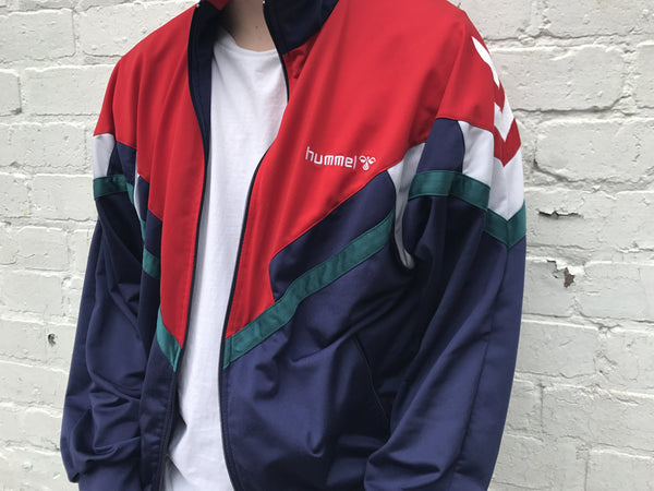 Vintage Hummel Track Jacket Unisex Red & Blue
