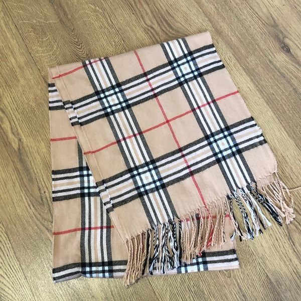Vintage Printed Checked Tartan Patterned Long Scarf Beige
