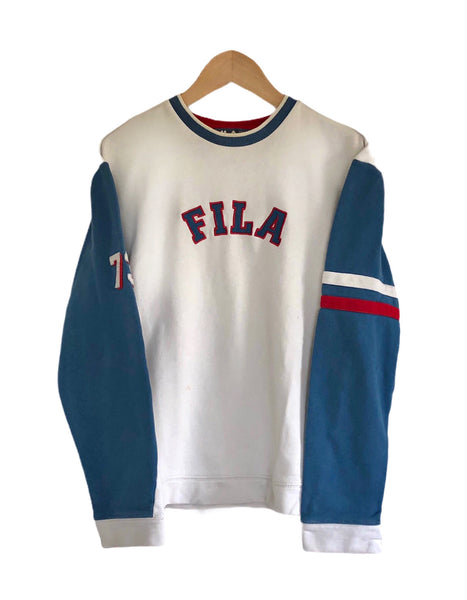 Vintage Fila Spell Out Oversized Sweatshirt / Sweater / Jumper Long Sleeve T Shirt White