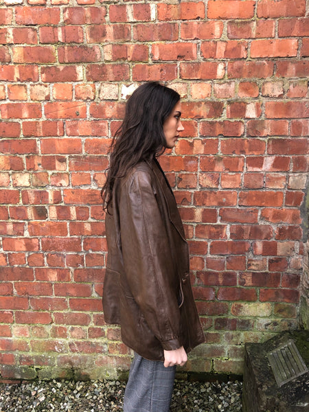 Vintage 90s Genuine Leather Rare Oversized Long Blazer Jacket Brown