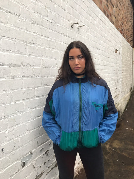 Vintage Unisex Retro Oversized Windbreaker Shell Jacket Blue & Black
