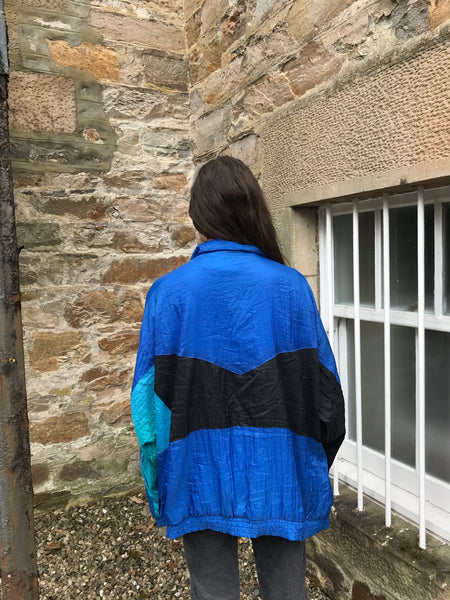 Vintage Unisex Oversized Windbreaker Festival Wavy Shell Jacket Blue