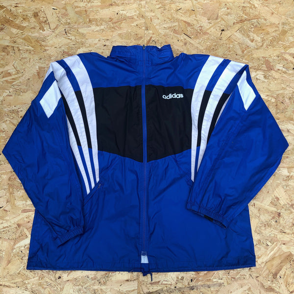 Adidas Vintage Lightweight 3-Stripes Unisex Hooded Windbreaker Festival Shell Jacket Blue