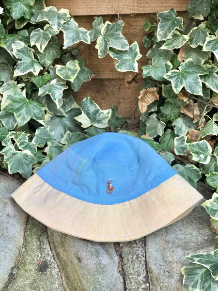 Vintage Reworked Ralph Lauren Recycled Shirt Bucket Hat - Blue & Yellow