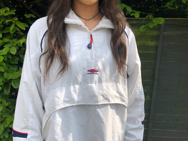 Vintage Umbro 1/4 Zip Unisex Windbreaker Shell Pullover Jacket / Jumper White