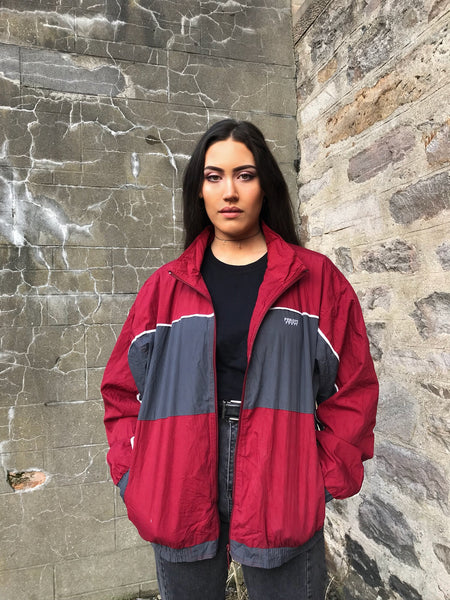 Vintage Unisex Windbreaker Oversized Shell Jacket Red & Grey