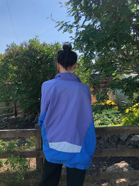 Vintage Unisex Retro Oversized Windbreaker Festival Shell Jacket Blue & Purple