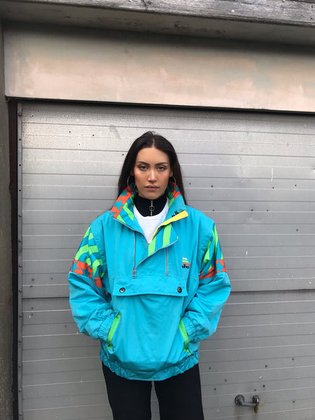 Vintage 1/4 Zip Colourful Retro Padded Shell Jacket Windbreaker Turquoise / Yellow