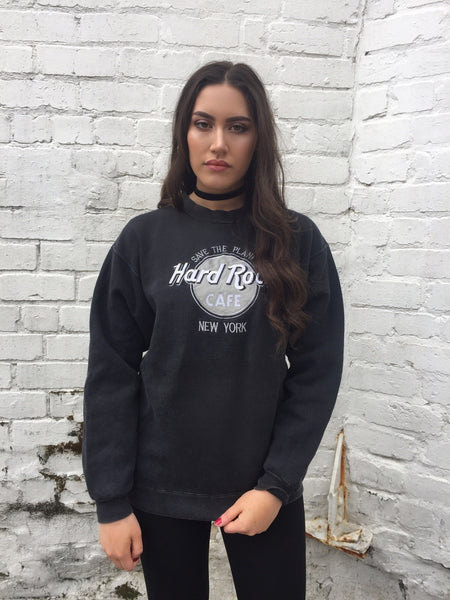 Vintage Unisex Hard Rock Cafe NEW YORK Jumper Black