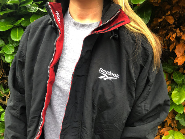 Vintage Reebok Padded Unisex Windbreaker Puffer Jacket Black & Red