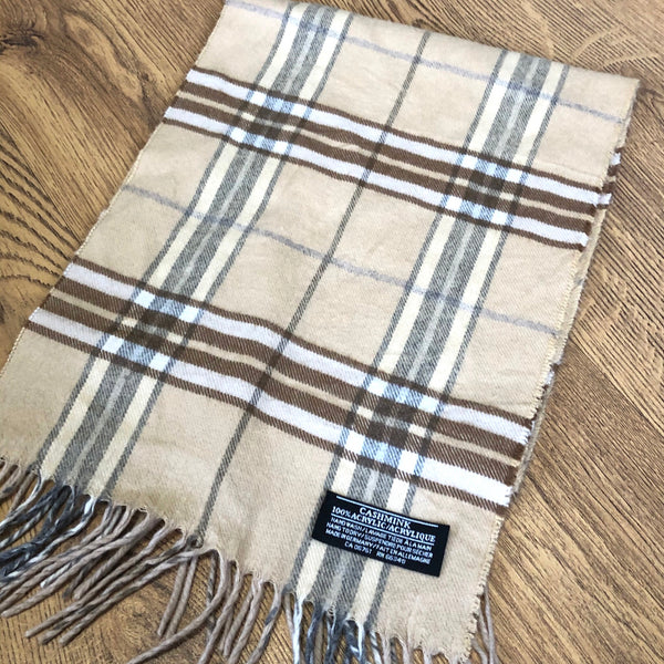 Vintage Printed Checked Tartan Patterned Long Scarf Light Beige