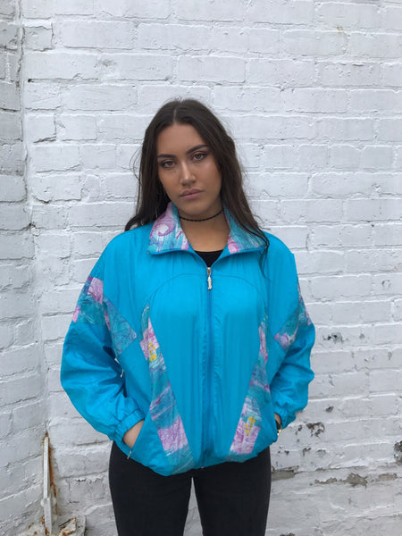 Vintage Unisex Retro Oversized Windbreaker Shell Jacket Blue