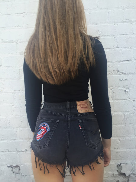Rolling Stones Levi High Waisted Vintage Frayed Denim Shorts Black
