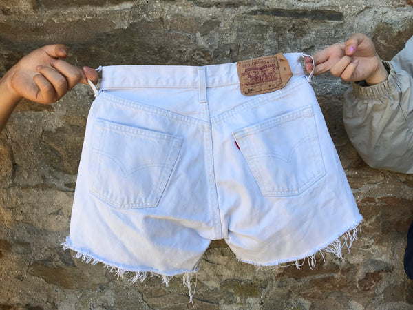 Levis Vintage High Waisted Denim Frayed Shorts White