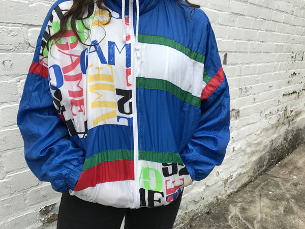 Vintage Unisex Retro Oversized Windbreaker Shell Jacket Crazy Print