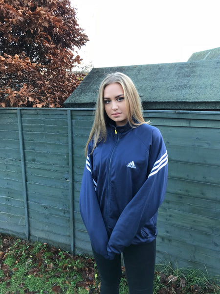 Adidas Vintage 3-Stripes Unisex Track Jacket Navy Blue