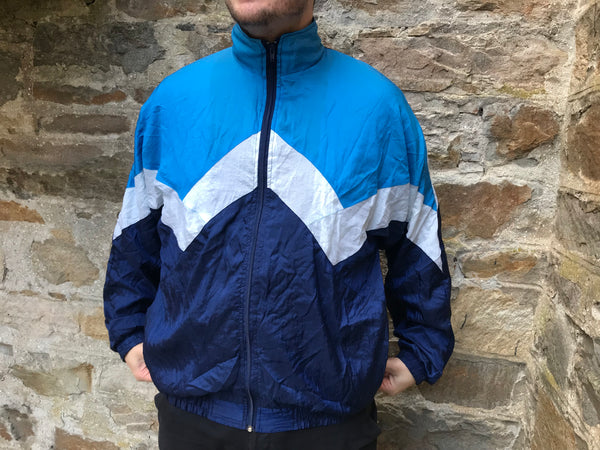 Vintage Unisex Retro Oversized Festival Windbreaker Shell Jacket Blue
