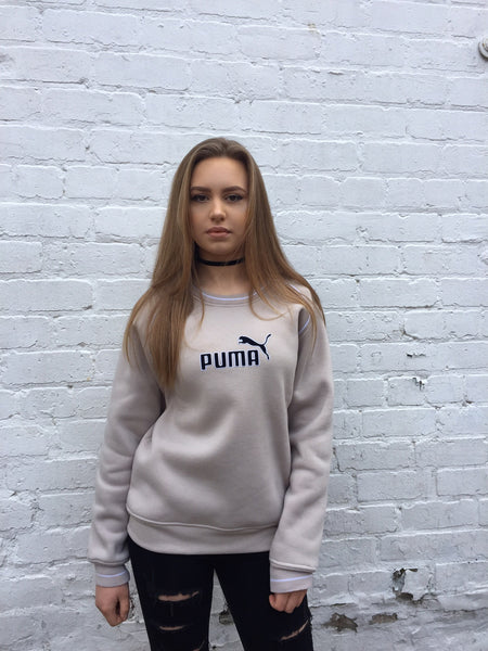 Vintage Puma Unisex Sweater In Beige