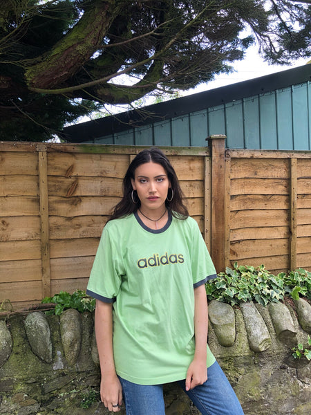 Vintage Adidas Oversized Baggy T Shirt Green