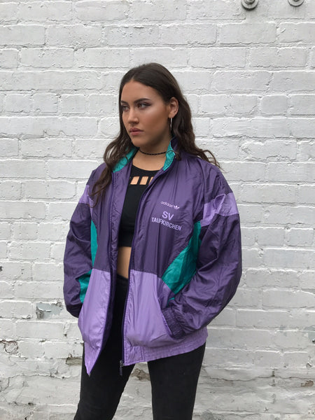 Vintage Adidas RARE Unisex Windbreaker Shell Jacket Purple