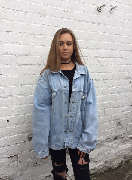 Vintage Oversized Unisex Light Blue Denim Jacket