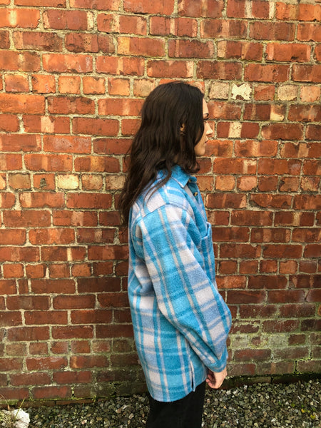 Vintage Checked Oversized 90's Thick Flannel Shirt / Shacket Blue