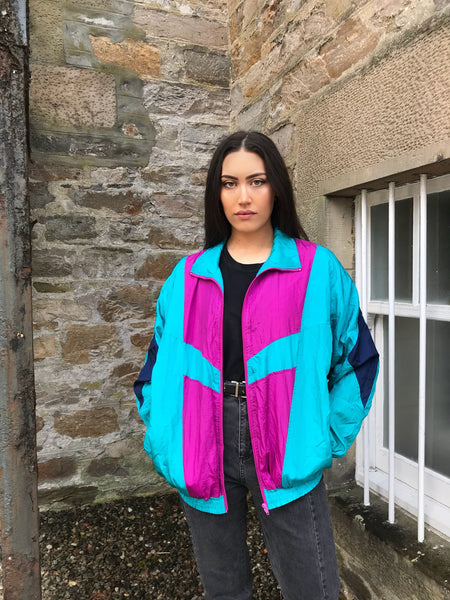 Vintage Unisex Oversized Colourful Festival Windbreaker Wavy Shell Jacket Pink & Blue