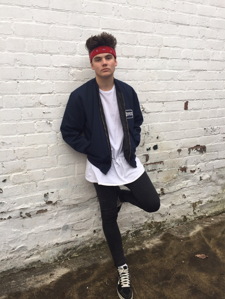 Vintage Bomber Jacket Unisex in Navy Blue