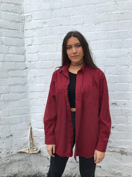 Vintage Oversized Red Shirt