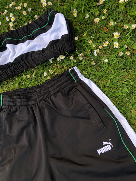 Vintage Reworked Puma Tracksuit Tube Top & Shorts Two Piece Set / Co-Ord Black, White & Green