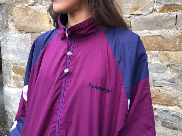 Vintage Hummel Unisex Retro Oversized Windbreaker Festival Shell Jacket Burgundy