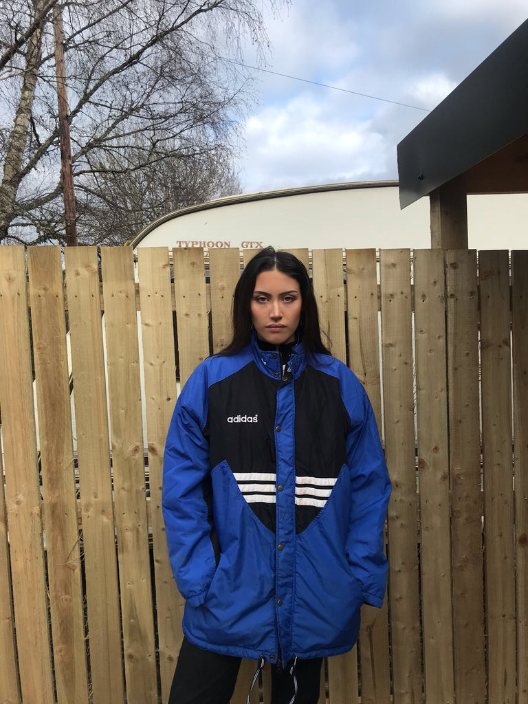 Vintage Adidas Originals 3 Stripes Unisex Oversized Padded Puffer Jacket Blue & Black
