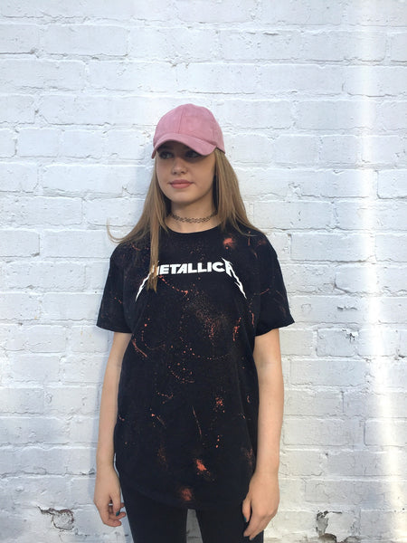 Unisex Metallica Bleached Band T shirt Black