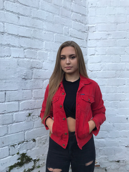 Vintage Shrunken Red Denim Jacket