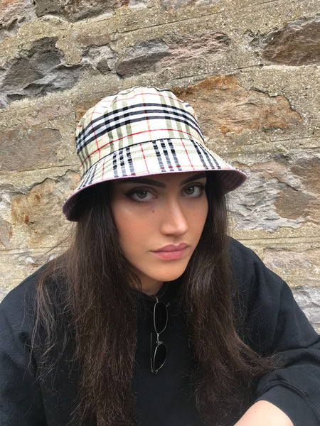 Love Route Unisex Bucket Hat Beige Nova Check