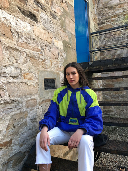 Vintage Windbreaker Oversized Colourful Half Zip Shell Jacket Pullover Blue & Neon Yellow