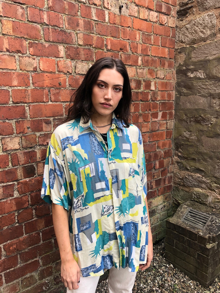 Vintage Short Sleeve Unisex Jazzy Patterned Crazy Print Shirt