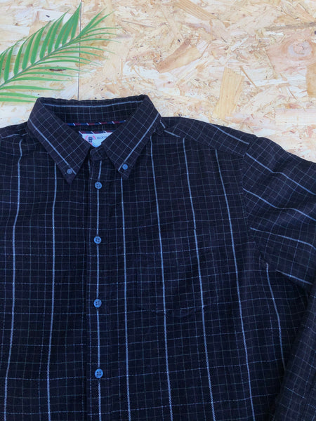 Vintage Cord / Corduroy Unisex Checked Oversized Baggy Flannel Shirt Black