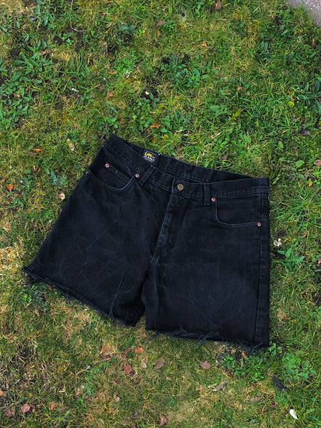 Vintage 90s Lee High Waisted Denim Shorts Black - W35