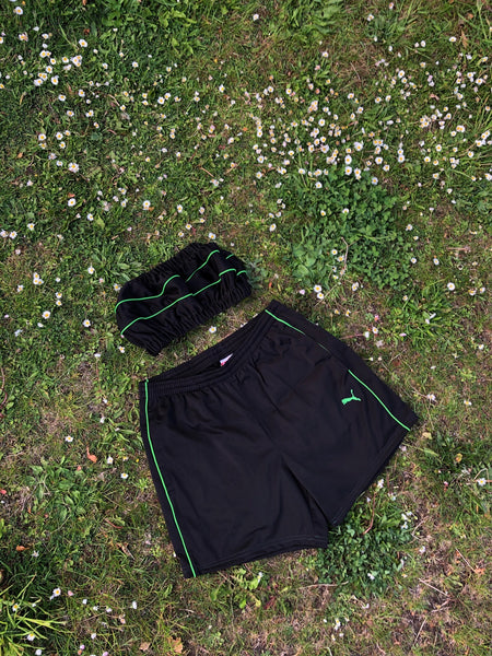 Vintage Reworked Puma Tracksuit Tube Top & Shorts Two Piece Set / Co-Ord Black & Green