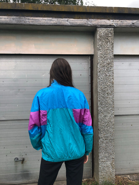 Vintage Unisex Retro Colourful Oversized Windbreaker Festival Shell Suit Jacket Blue & Pink
