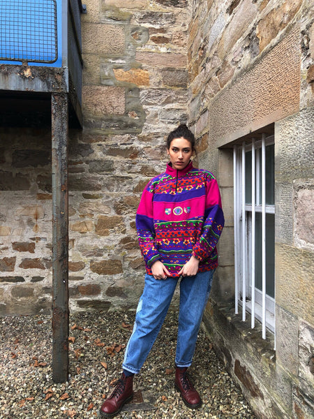 Vintage Unisex Colourful Crazy Print Oversized Funky Patterned 1/4 Zip Fleece Jumper / Sweatshirt Pink