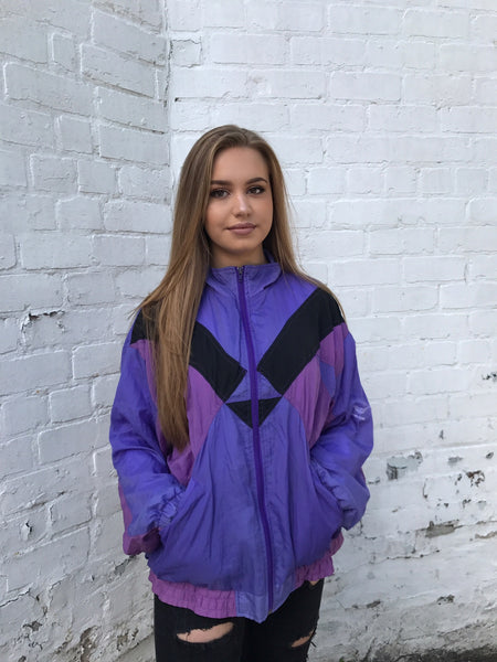 Vintage Windbreaker Unisex Oversized Shell Jacket Purple